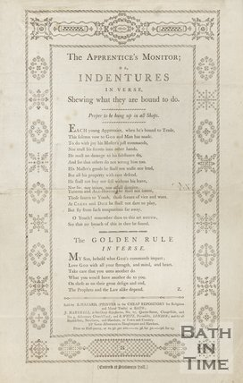 The Apprentice's Monitor; Or Indentures In Verse, Shewing what they are bound to do, 1795