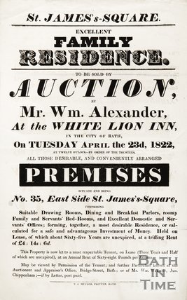 Poster Advertising The Auction of a Family Residence, 1822