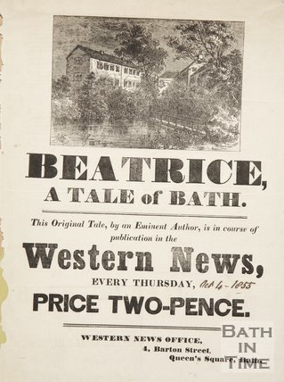Poster Advertising Beatrice, A Tale of Bath, in the Western News, 1855