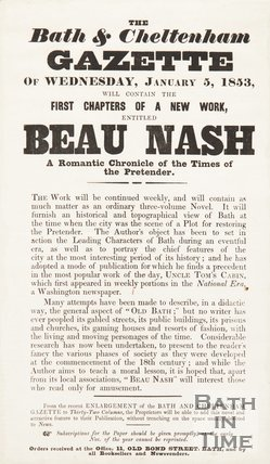 Poster Advertising  A Chronicle Of Beau Nash, in the Bath & Cheltenham Gazette, 1853