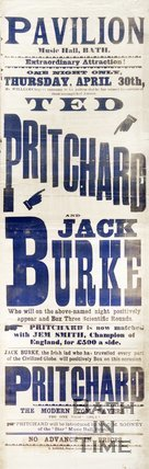 Poster Advertising A Boxing Match Between Ted Pritchard and Jack Burke At The Pavilion Music Hall, Bath, 1891