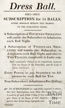 Poster Advertising The Dress Ball 1811-12 Season, 1811