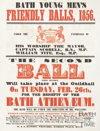Poster Advertising Bath Young Men's Friendly Balls, 1856