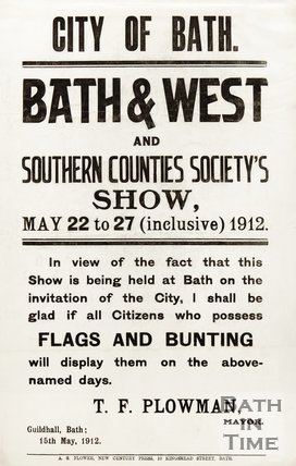 Poster Advertising The Bath & West And Southern Counties Society's Show, 22nd to 27th May 1912