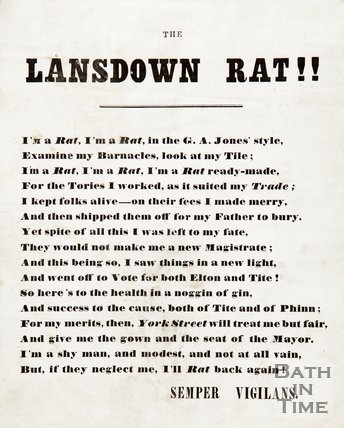 The Lansdown Rat - Satirical Poem From Liberal Party HQ, c.1859