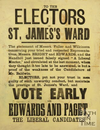 Liberal Party Election Poster For St. James's Ward, Bath, c.1874-5