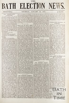 Front Page Of The Bath Election News, 1874