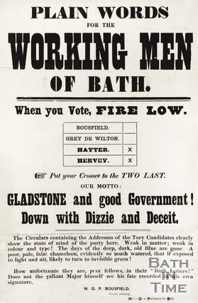Election Poster For The Working Men Of Bath, 1874