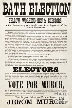 Election Poster For Jerom Murch, 1873