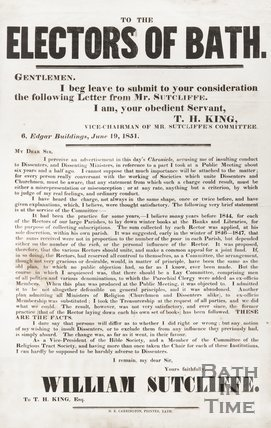 Election Poster, To The Electors Of Bath, From T. H. King, In Support Of William Sutcliffe, 1851