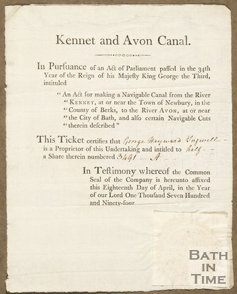 Ticket Certifying The Proprieter's Rights In Pursuance Of An Act Of Parliament Regarding The Kennet And Avon Canal, 1794