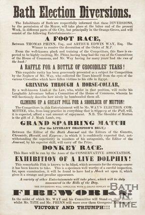 Satirical Election Poster - Bath Election Diversions, 1859
