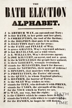 Election Poster - The Bath Election Alphabet, 1859