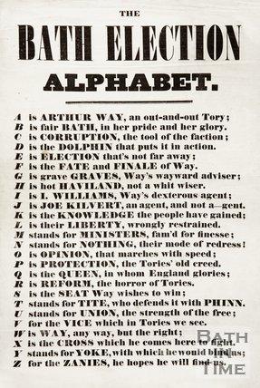 Election Poster - The Bath Election Alphabet, 1859