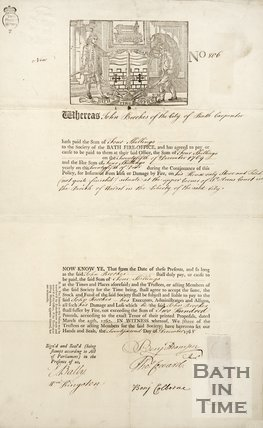 Notice Of Fire Insurance For John Brookes, 1768
