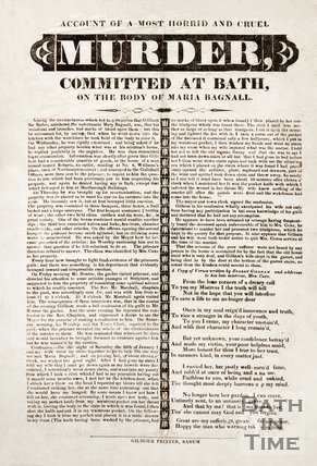Poster Of An Account Of A Most Horrid And Crude Murder Committed At Bath On The Body Of Maria Bagnall, 1828