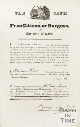 The Oath Of William Lewis,  A Free Citizen, Or Burgess, Of The City Of Bath, 1852