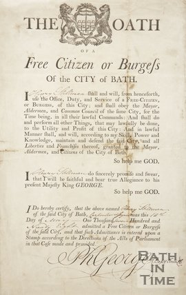 The Oath Of  Henry Stillman, A Free Citizen Or Burgess Of The City Of Bath, 1798