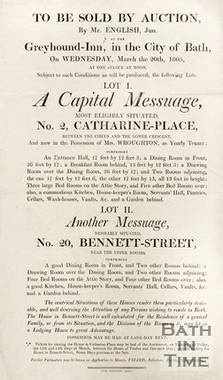 Poster Advertising Auctions For No. 2, Catharine-Place, and No. 20, Bennett-Street, Bath, 1805
