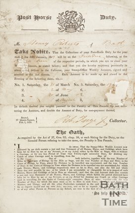 Notice Of Post  Horse Duty For Mr. Harry Roberts Of Bath, 1819