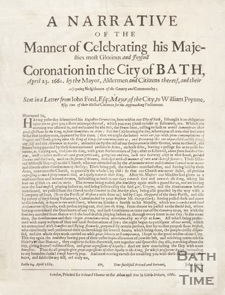 Narrative Of The Celebrations For The Coronation  Of King Charles II In Bath, 1661