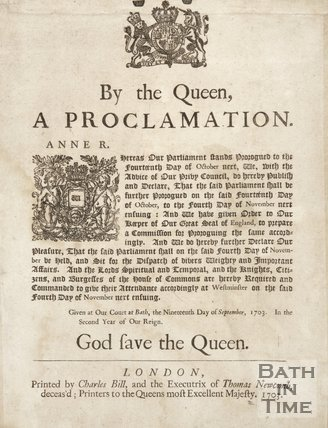 Proclamation By Queen Anne, 1703
