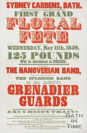 Poster For First Grand Floral Fete At Sydney Gardens, Bath, 1859