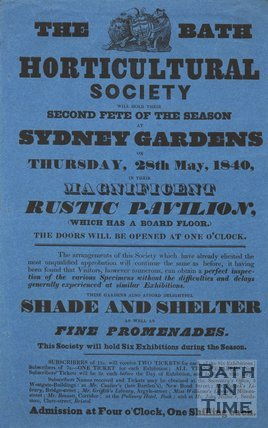 Poster For The Second Fete Of The Season At Sydney Gardens, Bath, 1840