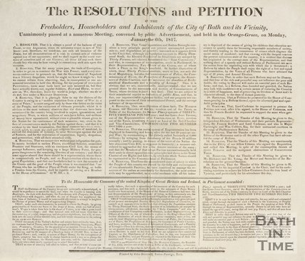 The Resolutions and Petition Of The Freeholders, Householders and Inhabitants of the City of Bath, 1817