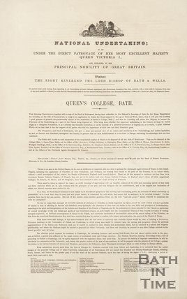 Front Page, National Undertaking, Queen's College, Bath, 1839