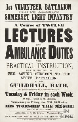 Poster Advertising A Course Of Twelve Lectures On Ambulance Duties, 1883