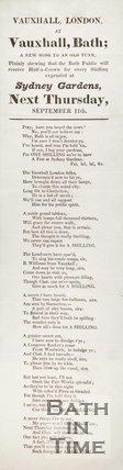 Advertisement And Poem For Sydney Gardens Vauxhall, Bath, 1834/1845?