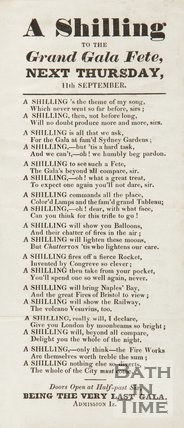 Advertisement And Poem For Grand Gala Fete, 1834/1845?