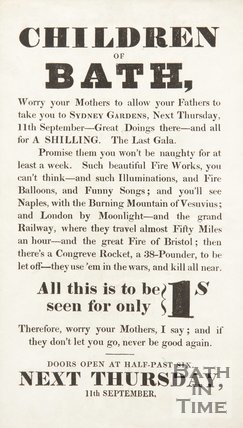 Advertisement, To The Children Of Bath, For The Last Gala At Sydney Gardens, Bath, 1834/1845?