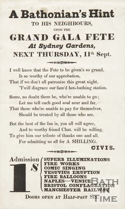 Advertisement For The Grand Gala Fete At Sydney Gardens, 1834/1845?