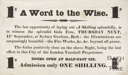 Advertisement For The Gala Fete At  Sydney Gardens, Bath, 1834/1845?