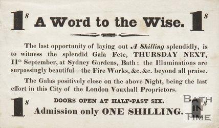 Advertisement For The Gala Fete At  Sydney Gardens, Bath, 1834/1845?