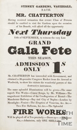 Advertisement For The  Grand Gala Fete At Sydney Gardens, Vauxhall, Bath, 1834/1845?