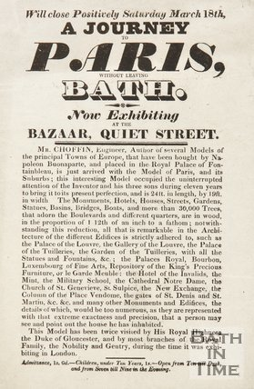 Advertisement For Exhibition of Model Of Paris, Quiet Street, Bath, 1826