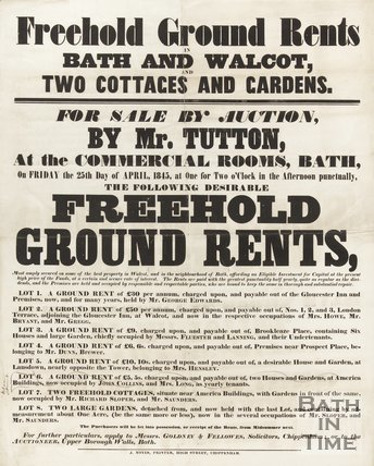 Poster Advertising Auction  Of Freehold Ground Rents In Bath And Walcot, 1845