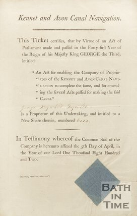 Kennet  And Avon Canal Share Certificate, 1802