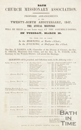 Notice Of Arrangements For Bath Church Missionary Association, 1847