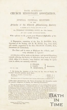 Advertisement For General Meeting, Bath Auxiliary Church Missionary Association, 1842