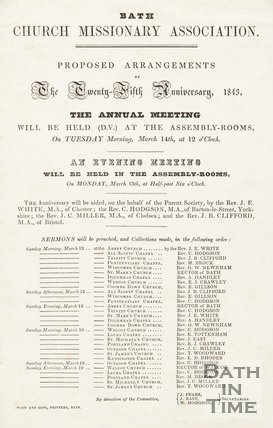 Notice Of Arrangements For Bath Church Missionary Association, 1843