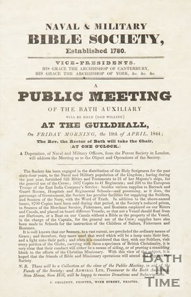Advertisement For A Public Meeting Of The Bath Auxiliary, 1844