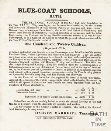 Statement By The Treasurer Of Blue-Coat Schools, Bath, 1846