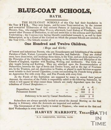 Statement By The Treasurer Of Blue-Coat Schools, Bath, 1846
