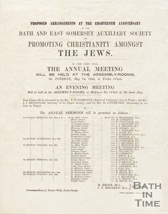 Notice Of  Arrangements For Bath And East Somerset Auxiliary Society, 1844