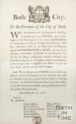 Public Notice To The Freemen Of The City Of Bath, 1791