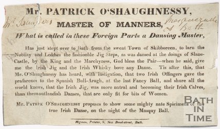 Advertisement For Dancing Master Mr. Patrick O' Shaughnessy